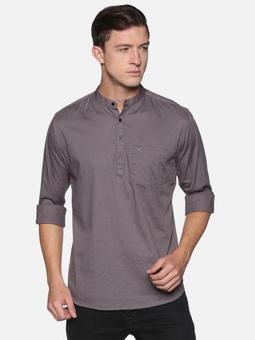 Showoff | SHOWOFF Men's  Cotton Casual Grey Solid Slim Fit Kurta