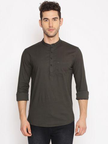 Showoff | SHOWOFF Men's  Cotton Casual Green Solid Slim Fit Kurta