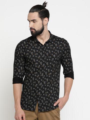 Showoff | Black Showoff Mens Cotton Printed  Slim Casual Shirts