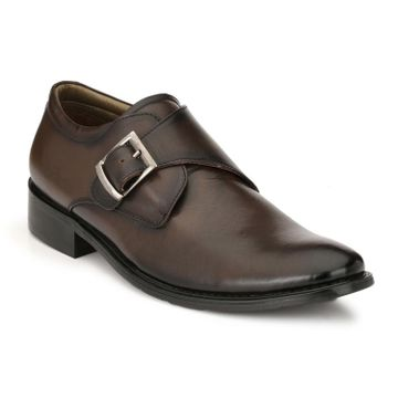 Hitz | Hitz Brown Genuine Leather Office Wear Shoes For Men with Buckle Fastening