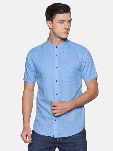 Showoff | SHOWOFF Men's  Lenin Casual Blue Solid Slim Fit Shirt