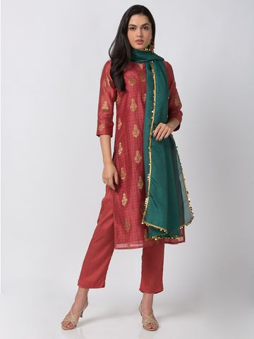 Ethnicity | Chanderi Straight Three-Fourth Women Coral Kurta & Pant Set