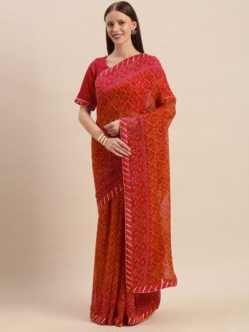 SATIMA | Red  Georgette Bandhani Print & GotaPatti Saree