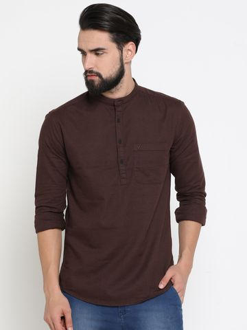Showoff | Brown Showoff Men's Cotton Solid Slim Casual Kurtas