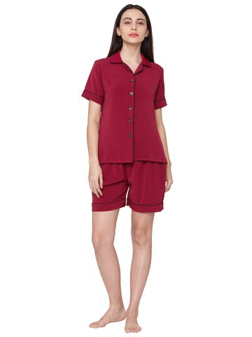 Smarty Pants | Solid wine color cotton night suit