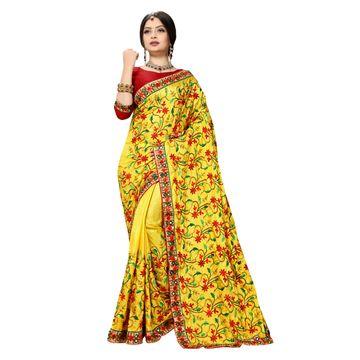 SATIMA | Fancy Yellow Silk Blend Embroidered Women Saree