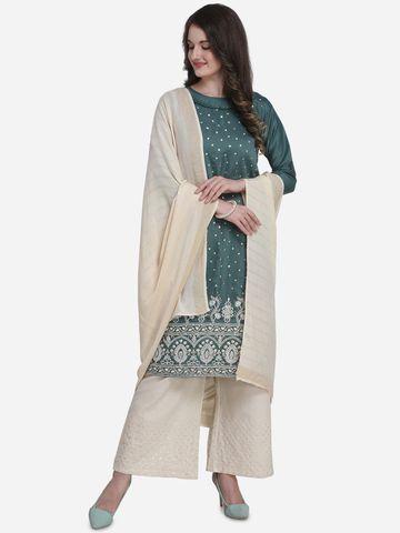 SATIMA | Sea Green Silk Blend Dress Material
