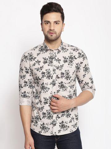 Showoff | SHOWOFF Men's  Cotton  Beige Printed Slim Fit Shirt