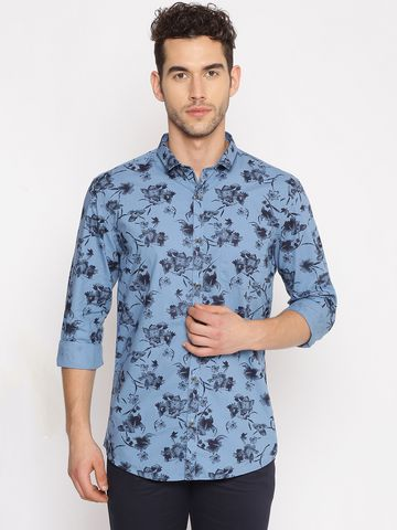 Showoff | SHOWOFF Men's  Cotton Casual Blue Printed Slim Fit Shirt