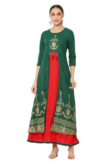 GAYRAA | Printed Anarkali ankle length green Kurta