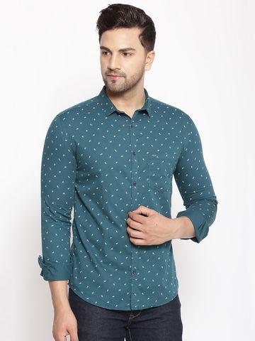 Showoff   SHOWOFF Men's  Cotton  Green Printed Slim Fit Shirt