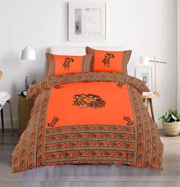 Pinkblock.in | Orange Cotton Patchwork Bedsheet