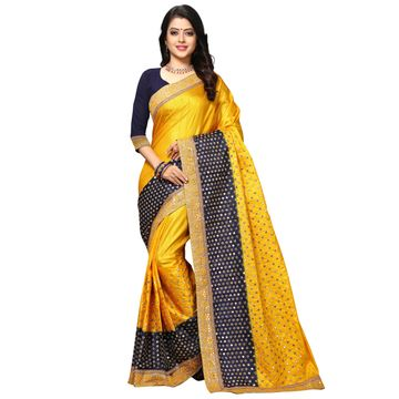 SATIMA   Elegant Yellow Silk Blend Embroidered Saree