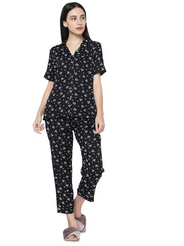 Smarty Pants | Smarty Pants women's black cotton floral print night suit