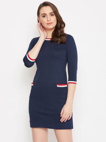 Jhankhi | Navy Shift Dress with Front Pockets