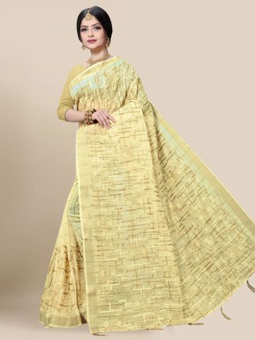 SATIMA | Latest Yellow Embroidered Solid Cotton Blend Saree