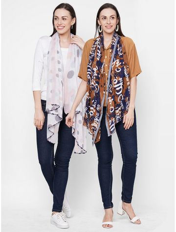 Get Wrapped | Get Wrapped Multicolour Polyester Printed Scarves for Women - Pack of 2