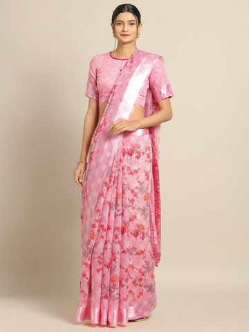 SATIMA | Pink Linen CottonFlower Print With Satin Border