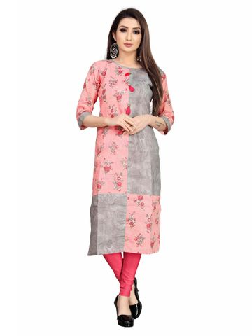 SATIMA | Pink and Grey Colored Casual Printed Cotton Cambric Kurti