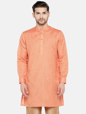 Ethnicity | Ethnicity Polyester Cotton Orange Kurta