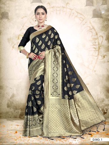 POONAM TEXTILE | TRADITIONAL BANARASI BLACK ART SILK WOVEN ZARI FESTIVE SAREE