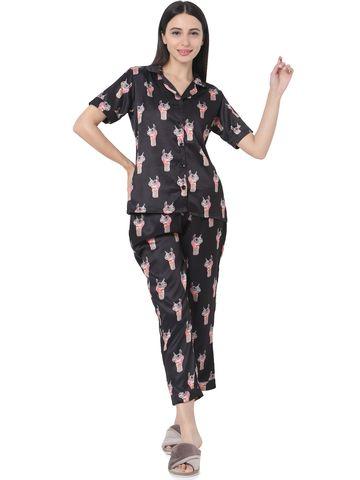 Smarty Pants | Smarty Pants women's silk satin black color camel print night suit