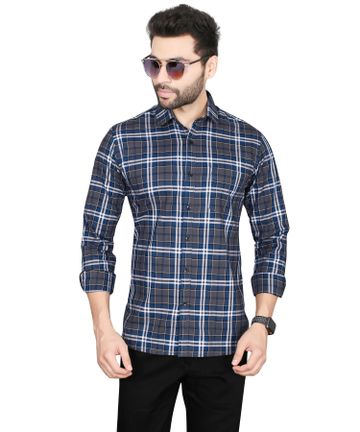 5th Anfold   Fifth Anfold Pure Cotton Blu Checkered Full Sleev Spread Collar Mens Casual shirt