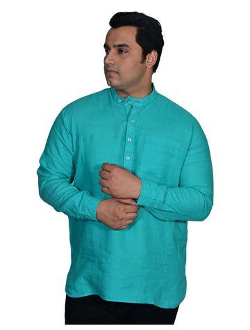 XMEX   Xmex Plus Size Green Linen 3/4 Rollup Sleeve Kurta with Pocket for Men
