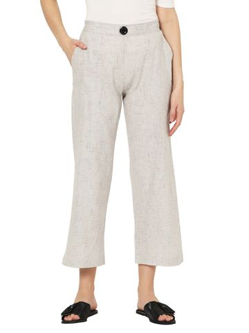 Smarty Pants | Smarty pants women's pure cotton grey color ankle length flared trouser