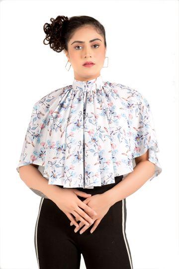 EUDORA CUT | Trendy White High Collar Poncho Top