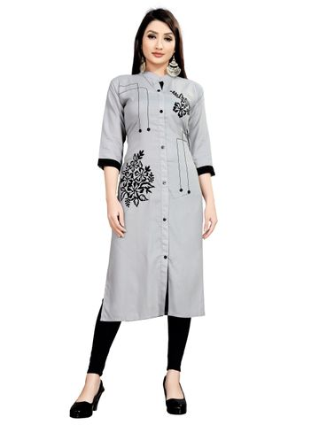 SATIMA | Women's Grey Straight Applique Rayon Kurta