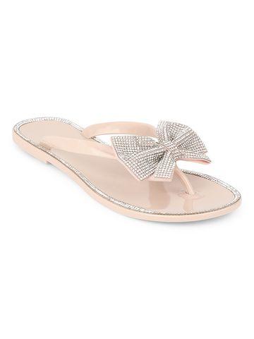 Truffle Collection | Nude PVC Diamante Bow Slip On Flats