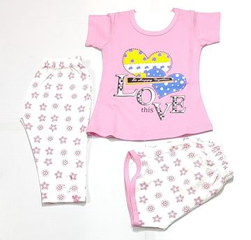AAAKAR | Girl's Graphic Printed Top, Shorts And Capri Combo Set