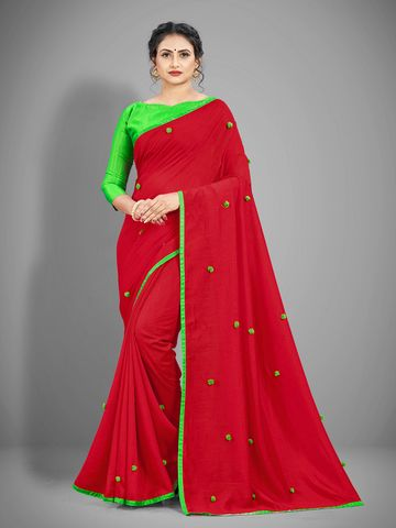 JINAL & JINAL | JJ Women's Silk Saree with Pom Pom - RED