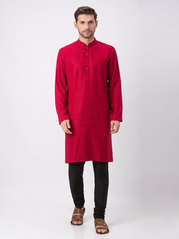 Ethnicity | Ethnicity Maroon Polyester Cotton Kp Set