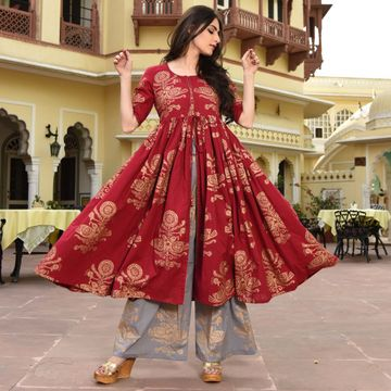 GAYRAA | Printed Flared red kurta withb palazzo