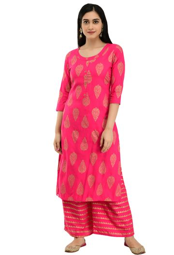 GAYRAA | Gold printed straight pink Kurta with Palazzo