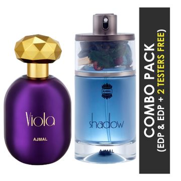 Ajmal | Ajmal Viola EDP Fruity Floral Perfume 75ml for Women and Shadow HIM EDP Spicy Woody Perfume 75ml for Men + 2 Parfum Testers FREE