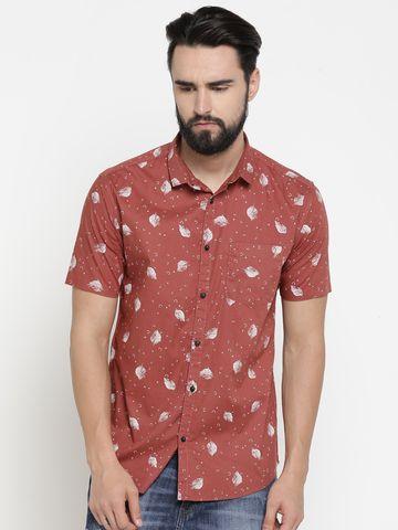 Showoff | Red Showoff Mens Cotton Printed  Slim Casual Shirts