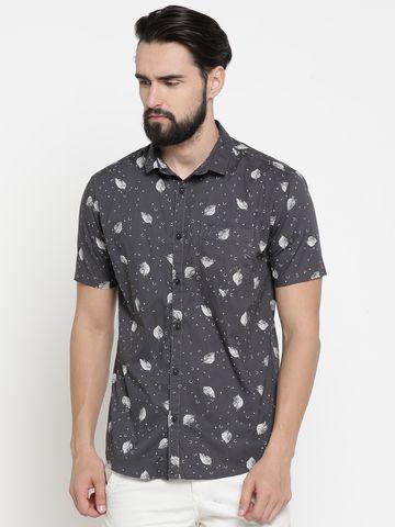 Showoff | Grey Showoff Mens Cotton Printed  Slim Casual Shirts