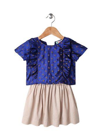 Popsicles Clothing | Popsicles Lapis Skirt Set Beige  Blue Regular Fit Dress For Girls