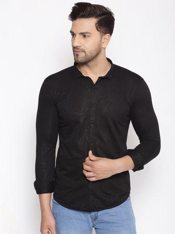 Showoff   SHOWOFF Men's  Cotton  Black Solid Slim Fit Shirt