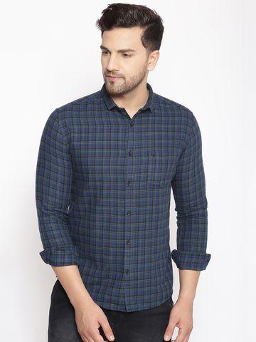 Showoff   SHOWOFF Men's  Cotton  GreenBlue Printed Slim Fit Shirt