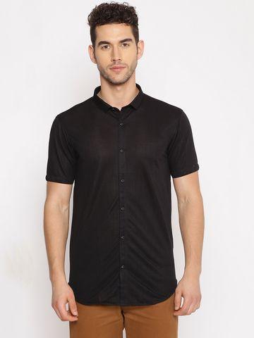 Showoff   SHOWOFF Men's  Cotton Casual Black Solid Slim Fit Shirt