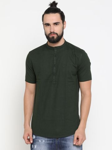 Showoff | Green Showoff Men's Cotton Solid Slim Casual Kurtas