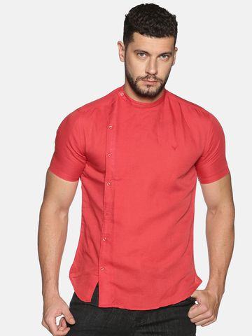 Showoff | SHOWOFF Men's Lenin Casual Red Solid Slim Fit Shirt