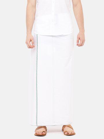 Ramraj Cotton | ROSEMARY PLAIN  WHITE DHOTI GREEN BORDER