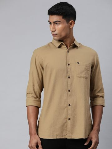 The Bear House | Men's Beige Solid Casual Shirt