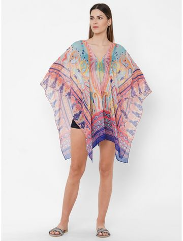 Get Wrapped | Get Wrapped Polyester Printed Multicolor Beach Cover-Up Dress With Border Print