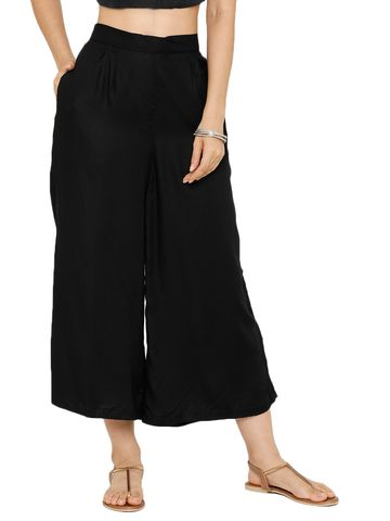 De Moza | De Moza Ladies Crop Palazzo Woven Bottom Solid Rayon Black